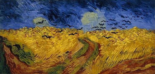 荒れ模様の空にカラスの群れ飛ぶ麦畑.jpg